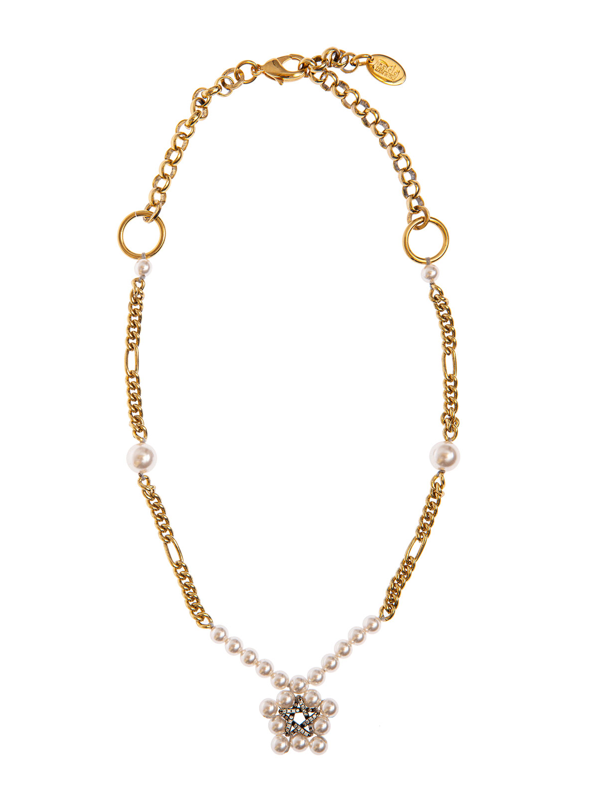 Chain and pearl necklace with crystal and pearl star