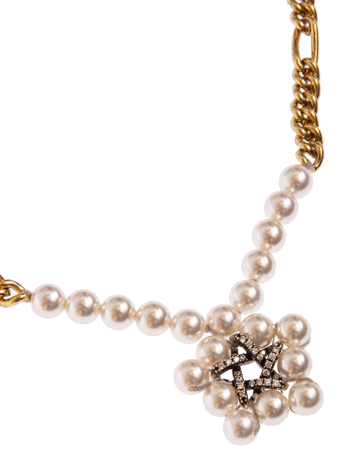 Collana di perle e catena con stella di cristalli e perle