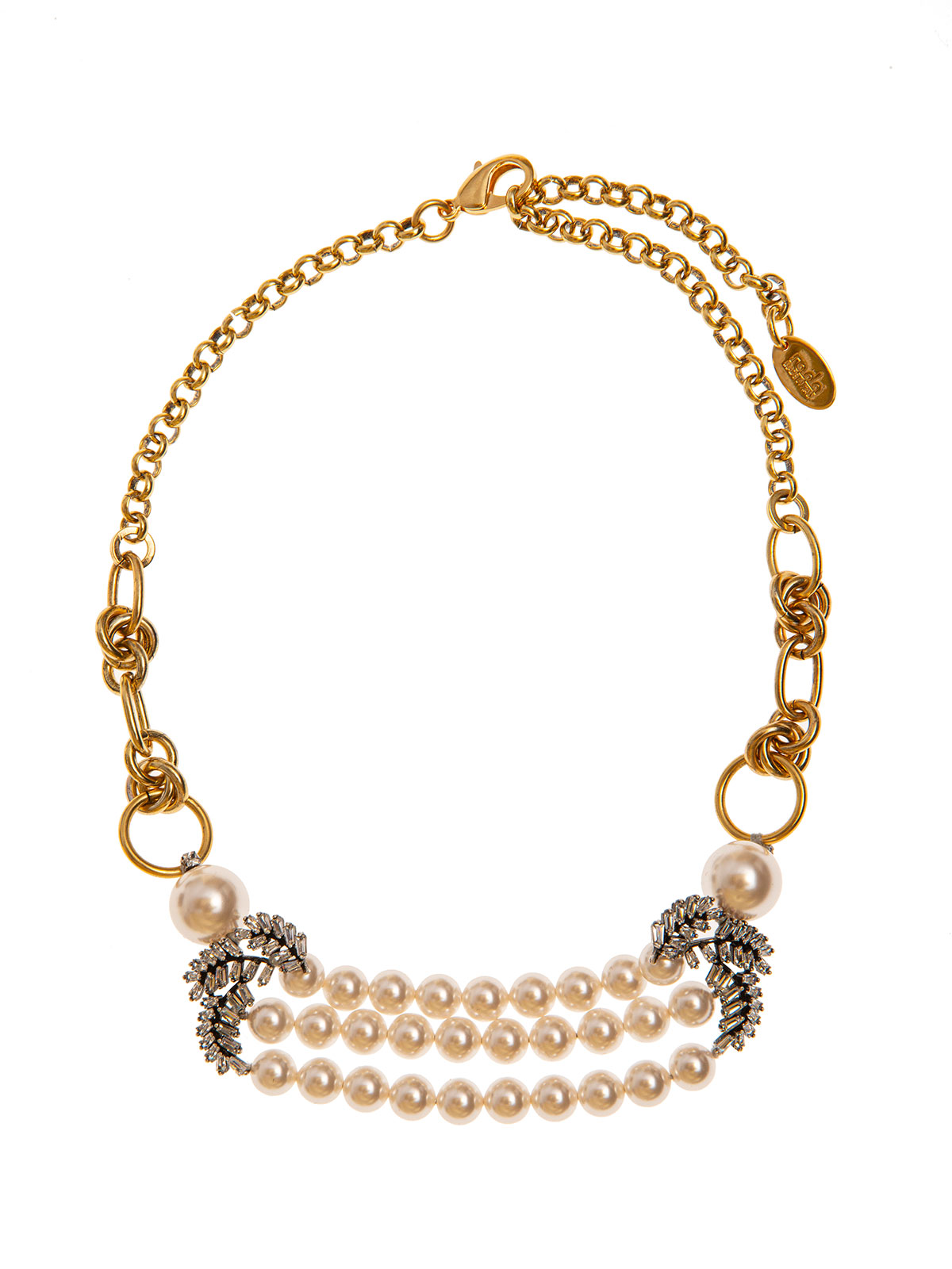 Chain necklace with pearl decoration and crystal leaves