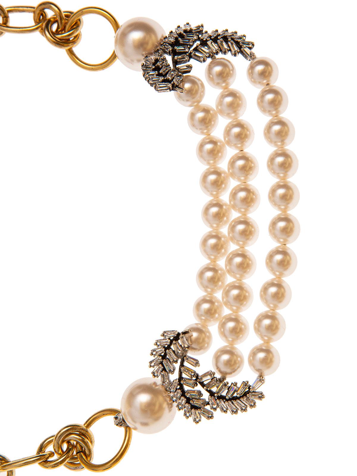 Collana di catena con fili di perle e grappoli di baguettes