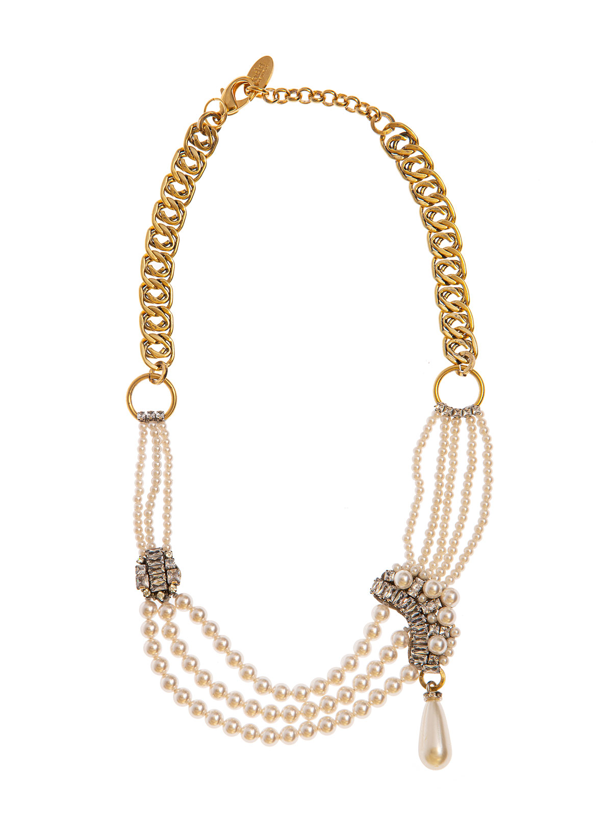 Chain necklace with pearl and crystal decoration