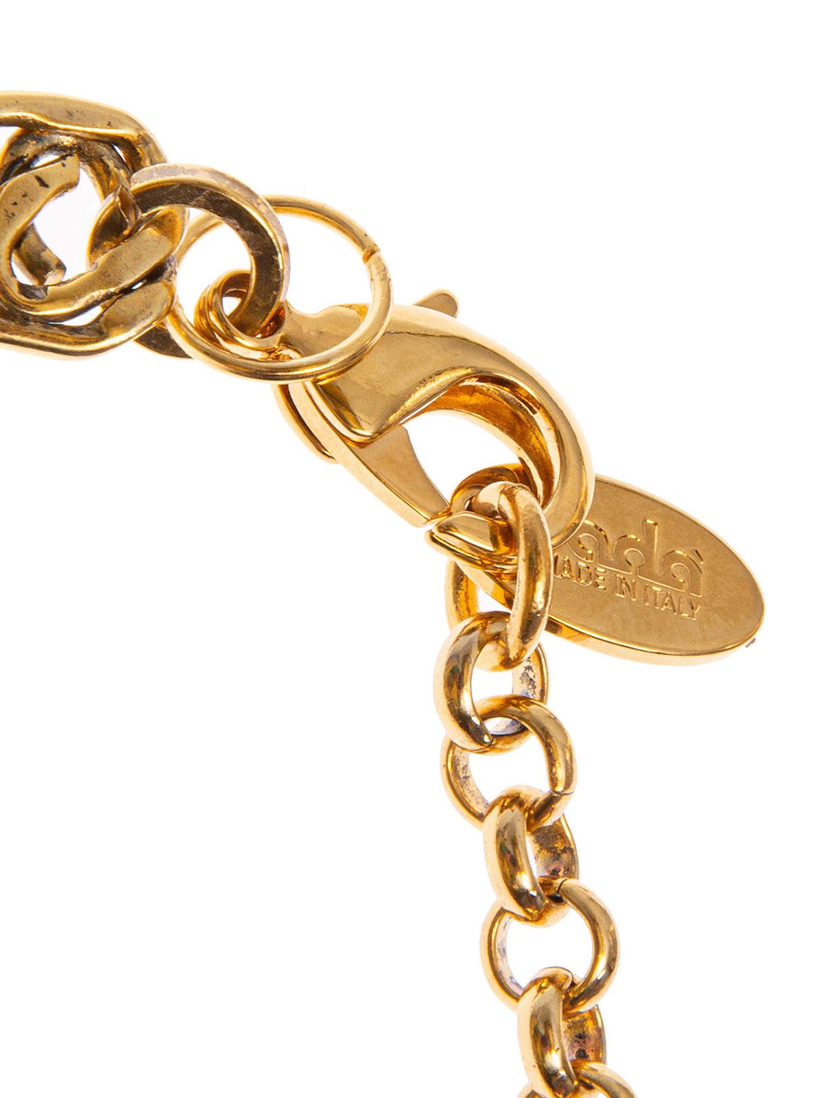 Collana fili di perle e catena con ricamo centrale di baguettes e perle