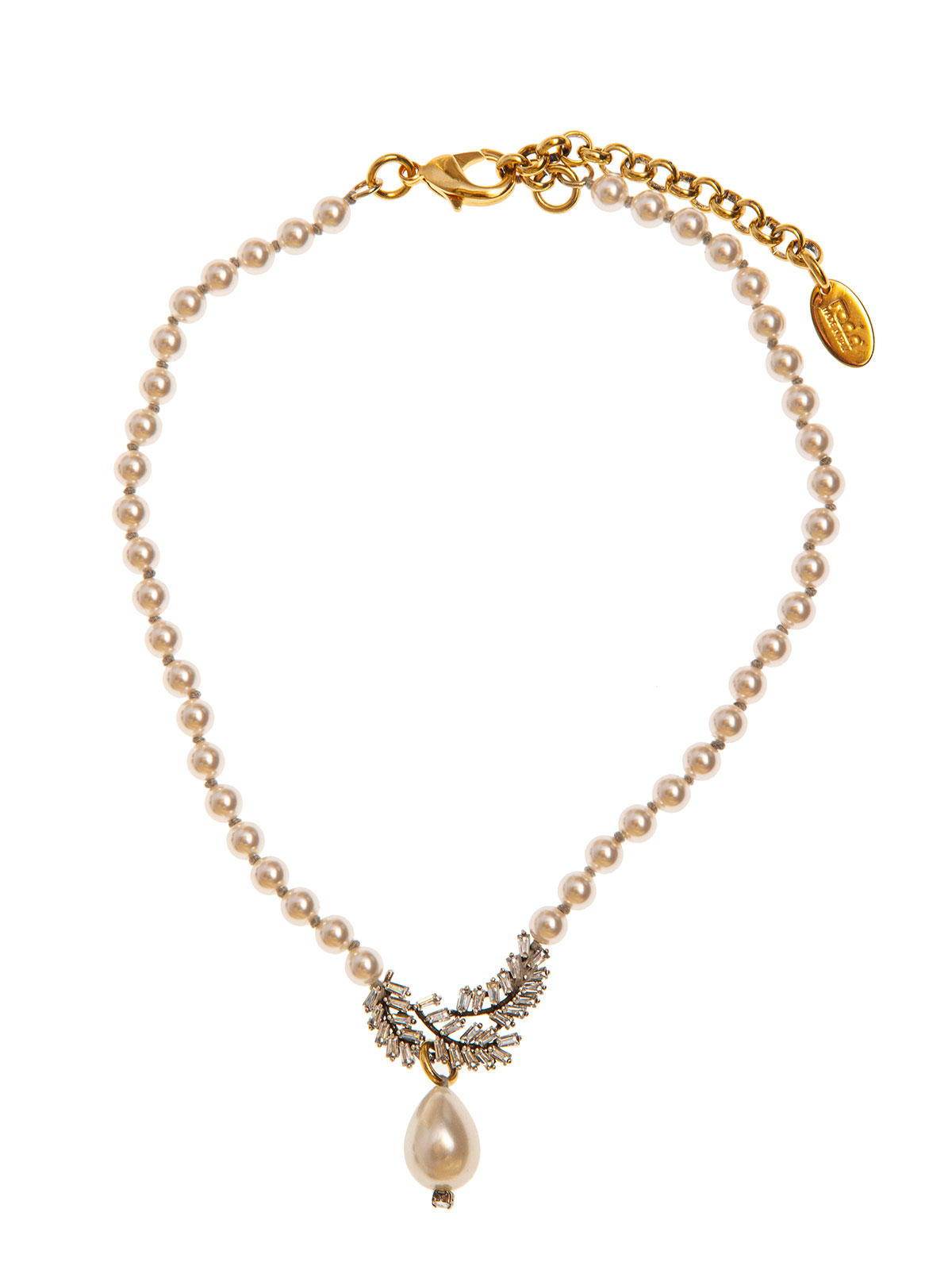 Pearl necklace with crystal leaves decoration