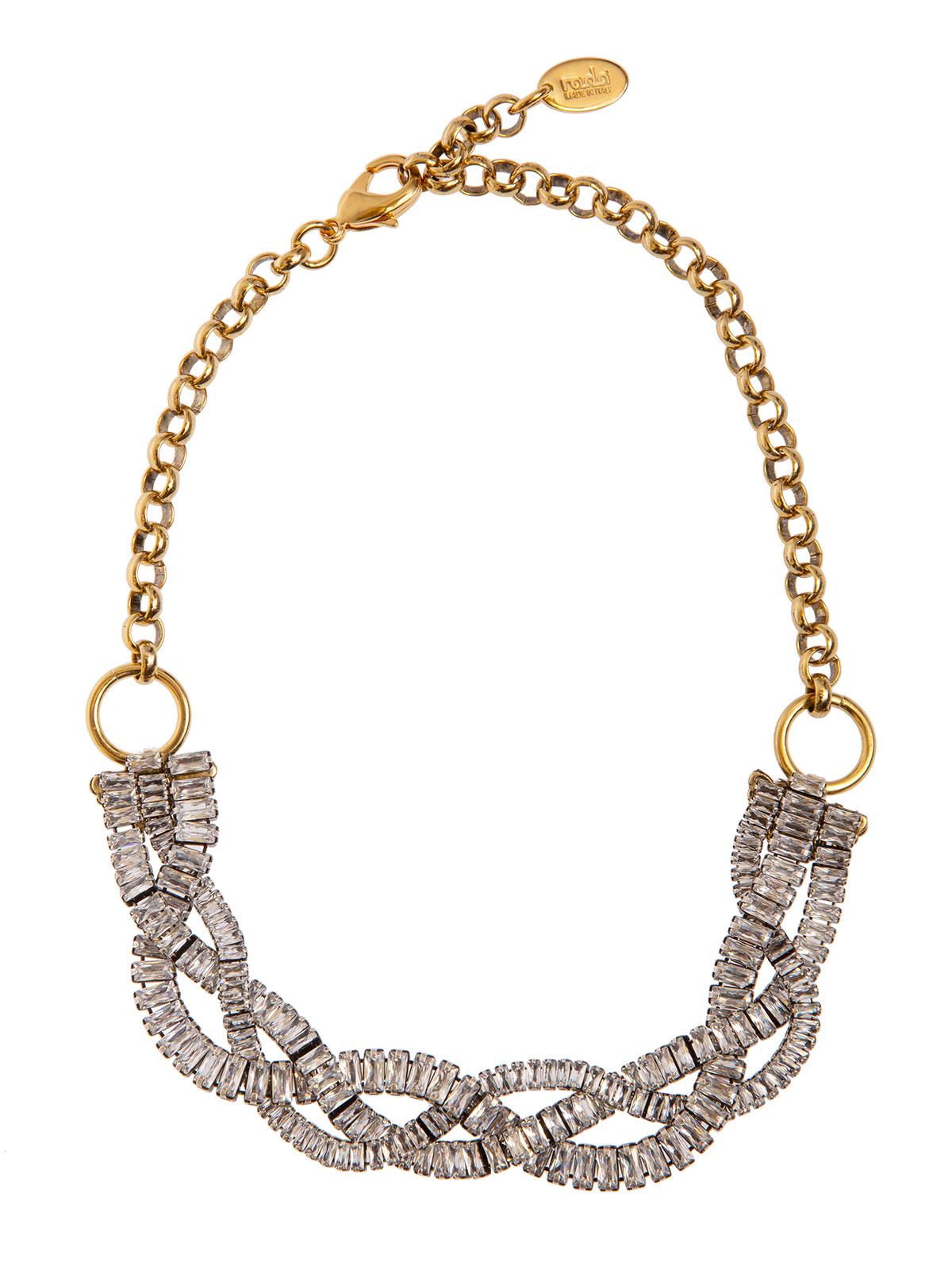 Collana con intreccio di baguettes cristallo e catena oro antico