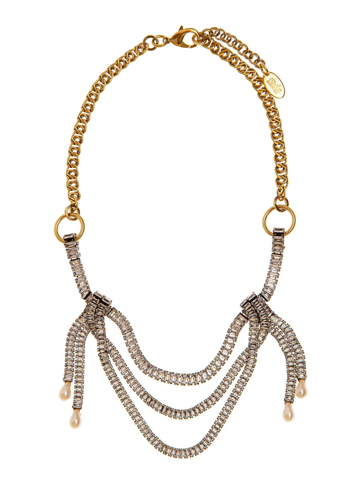 Collana di catena con drappeggi di baguettes e gocce in vetro