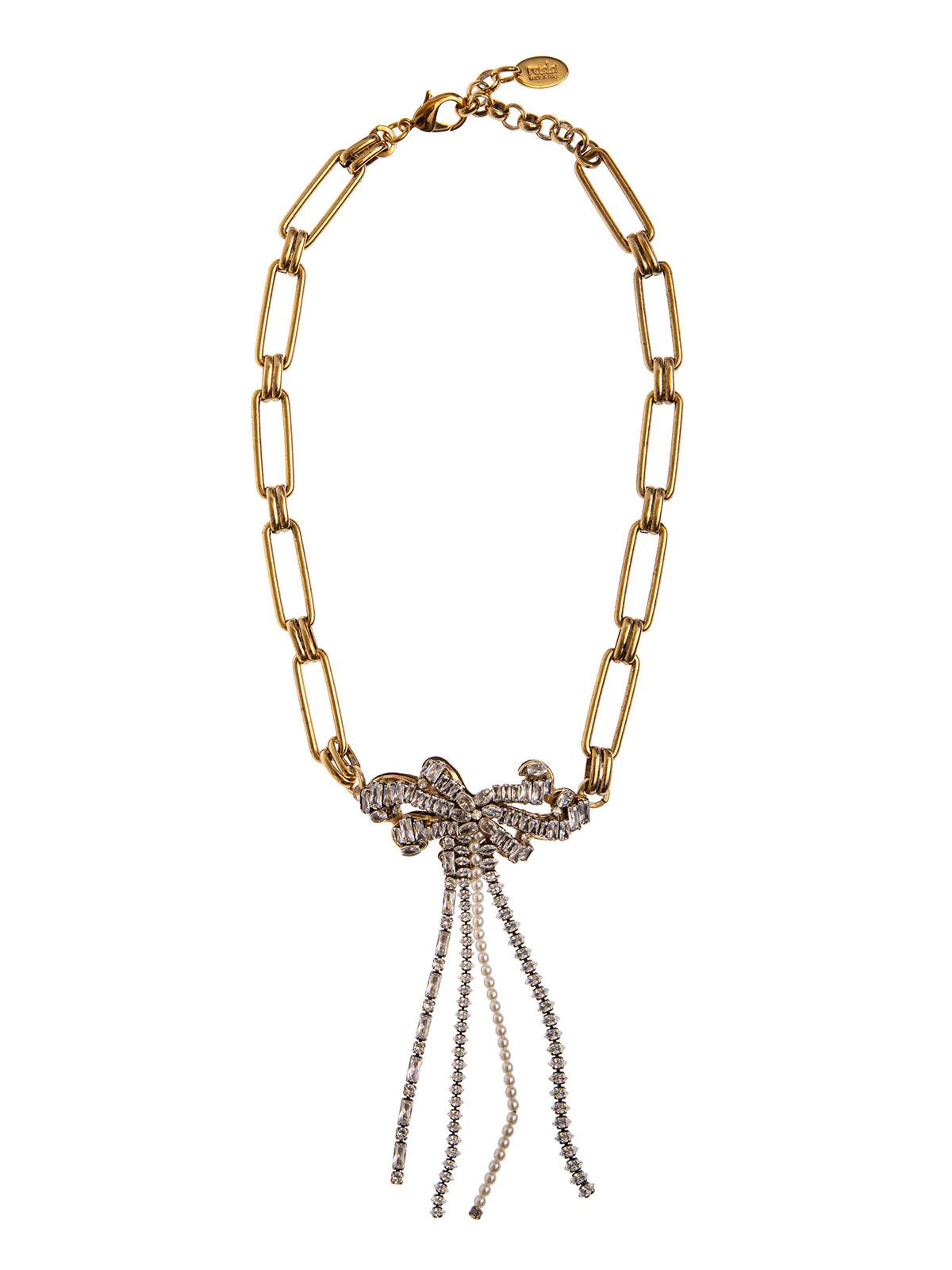 Collana di catena con decorazione centrale riccioli gioiello e cascata di pietre e perle