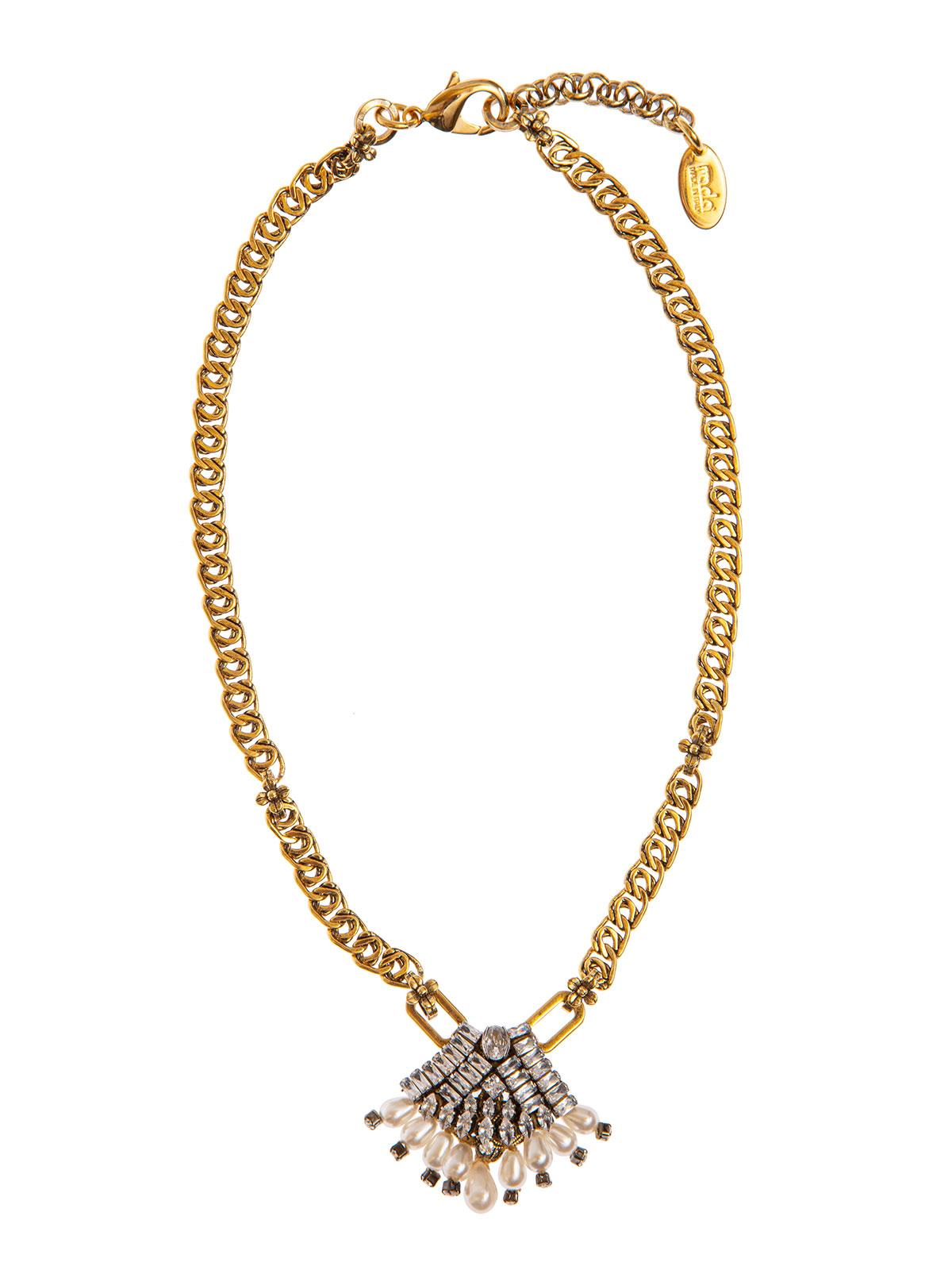Collana di catena con decorazione centrale ventaglio gioiello e gocce in vetro