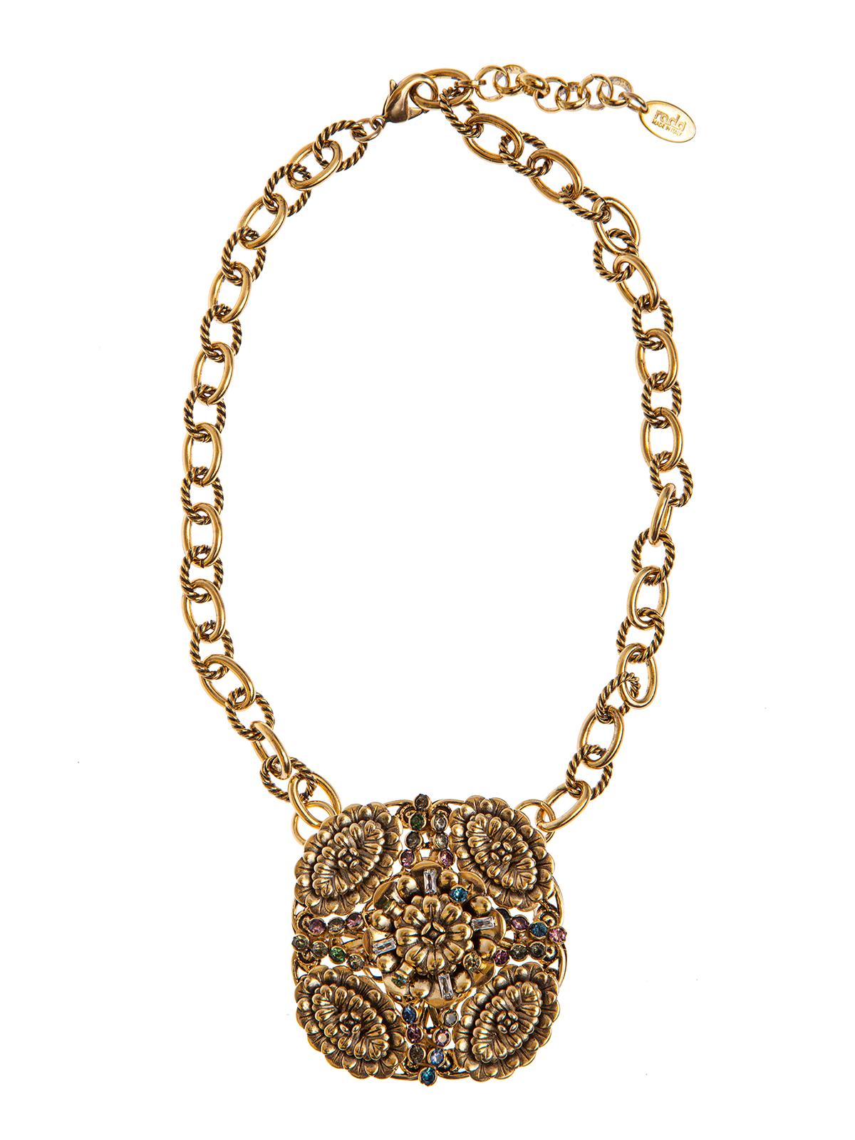 Collana di catena con decorazione centrale, ricamo di fiori e pietre multicolor
