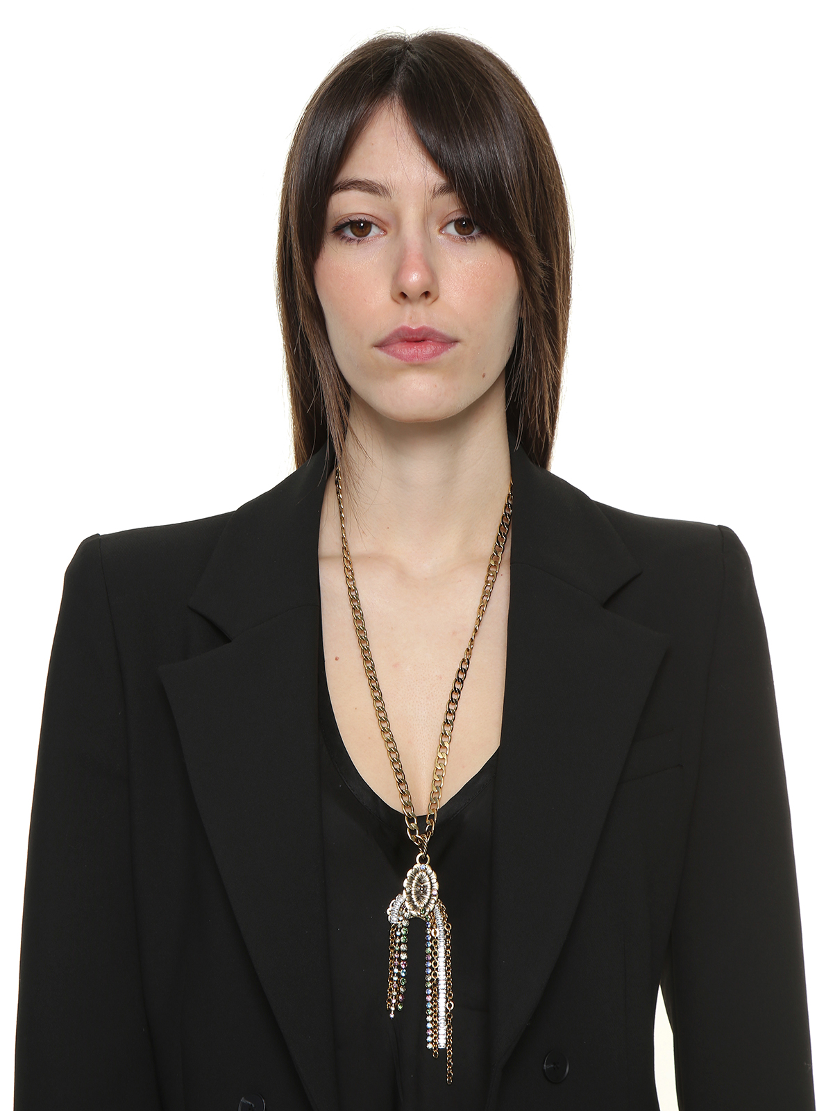 Chain necklace with central flower embellished with stones and chain cascade