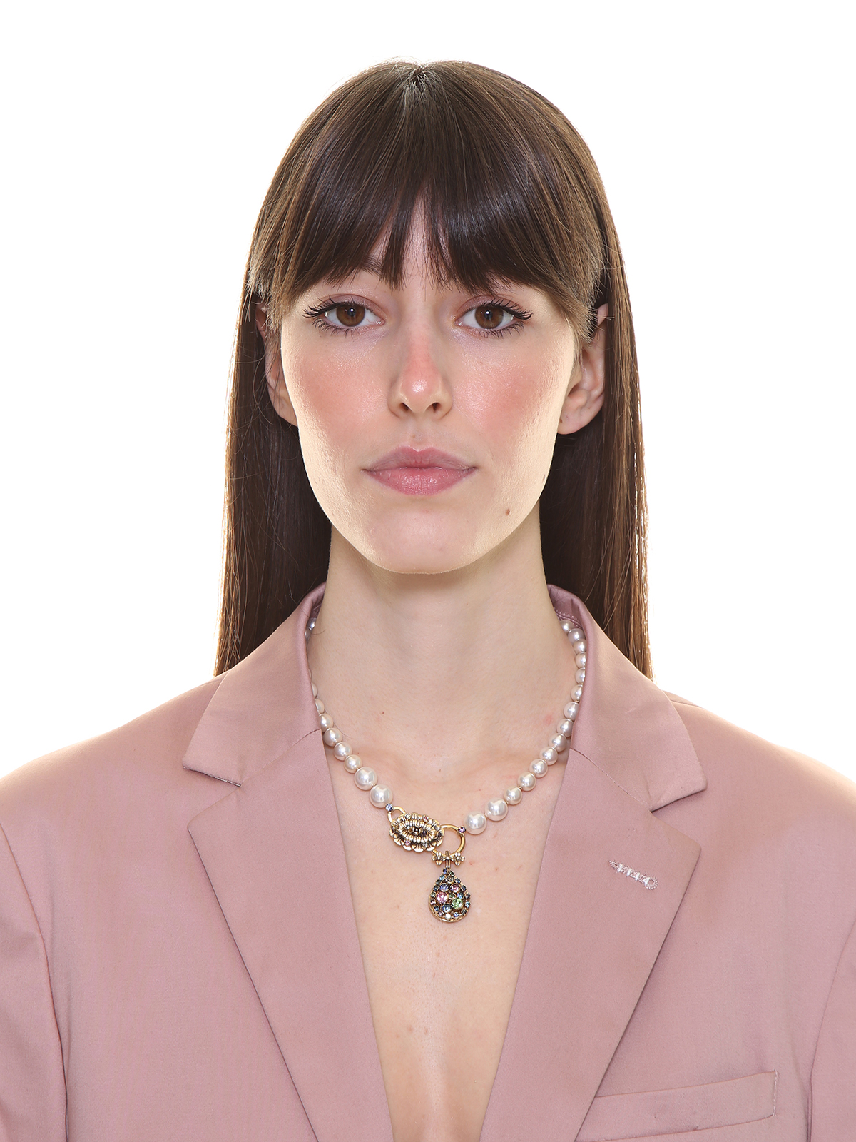Pearl and chain necklace with flowers embellished with multicolor stones