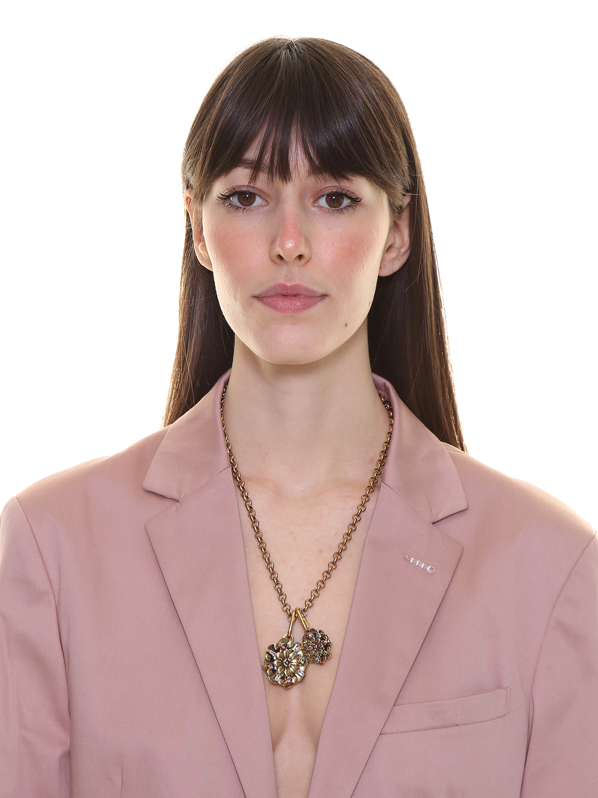 Chain necklace with flower charms embellished with multicolor stones