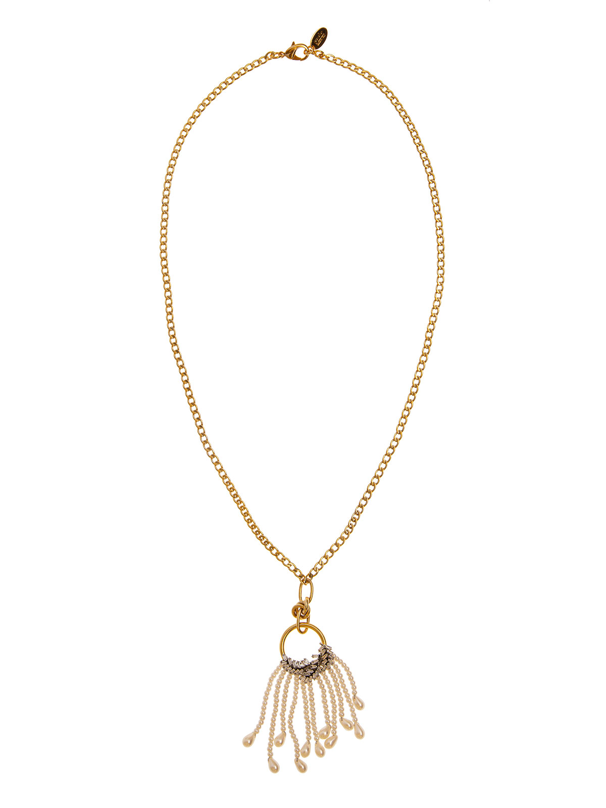 Chain necklace with crystal leaves decoration and pearls