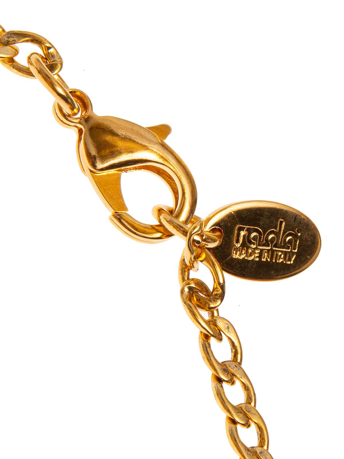 Collana di catena e cerchio di foglie ricamate con baguettes e frangia di perle