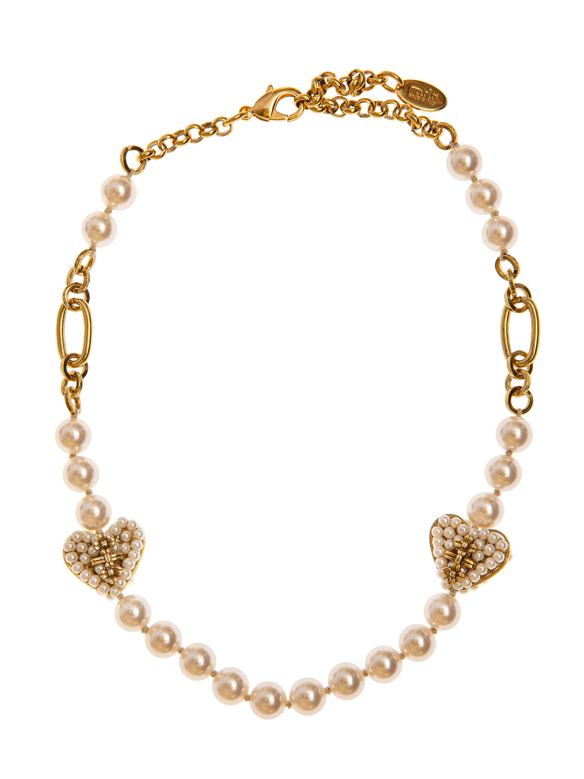 Pearl and chain necklace embellished with beaded hearts