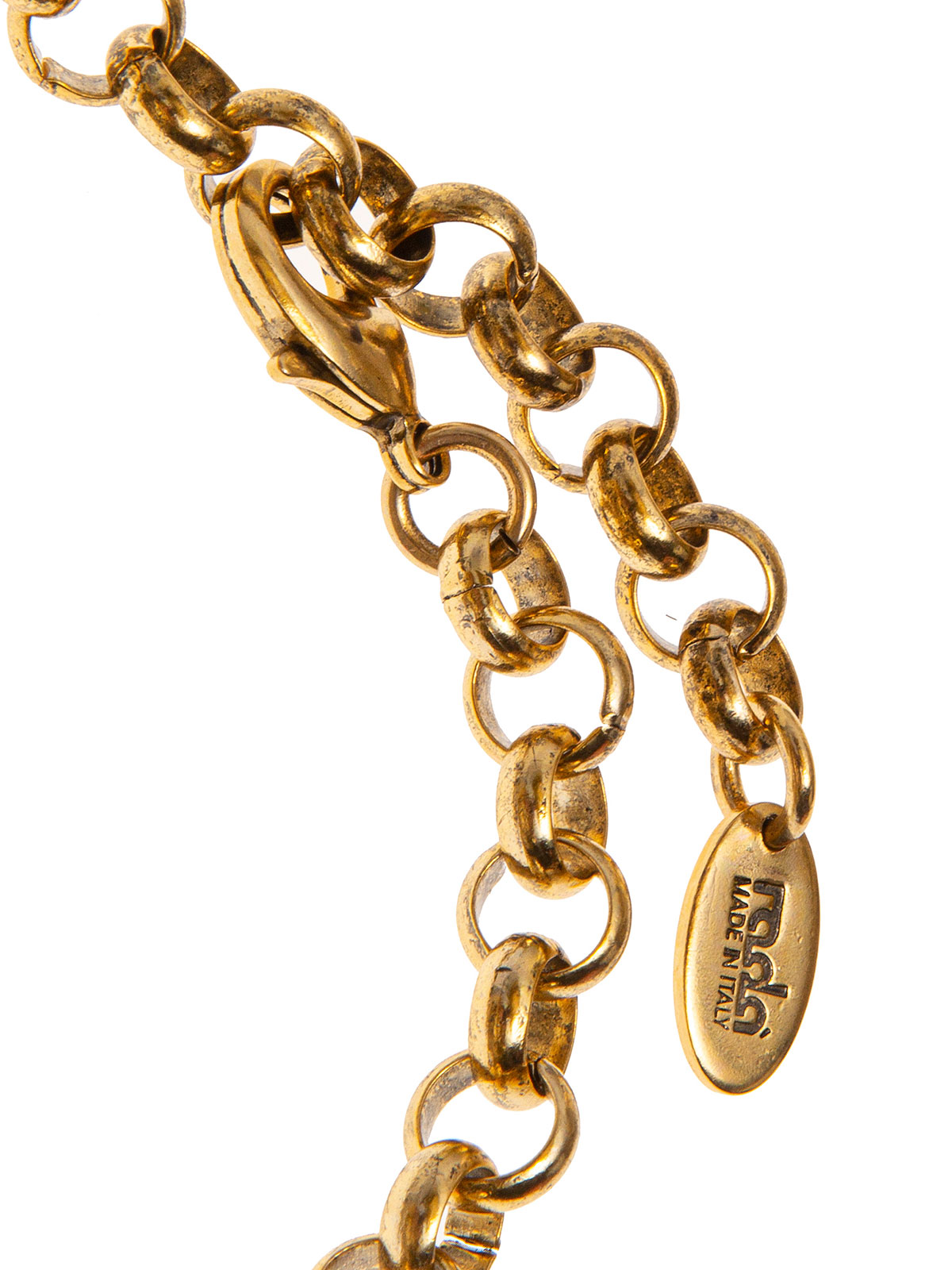 Collana di catena e perle impreziosita da pendenti ricamati con fiori e perle