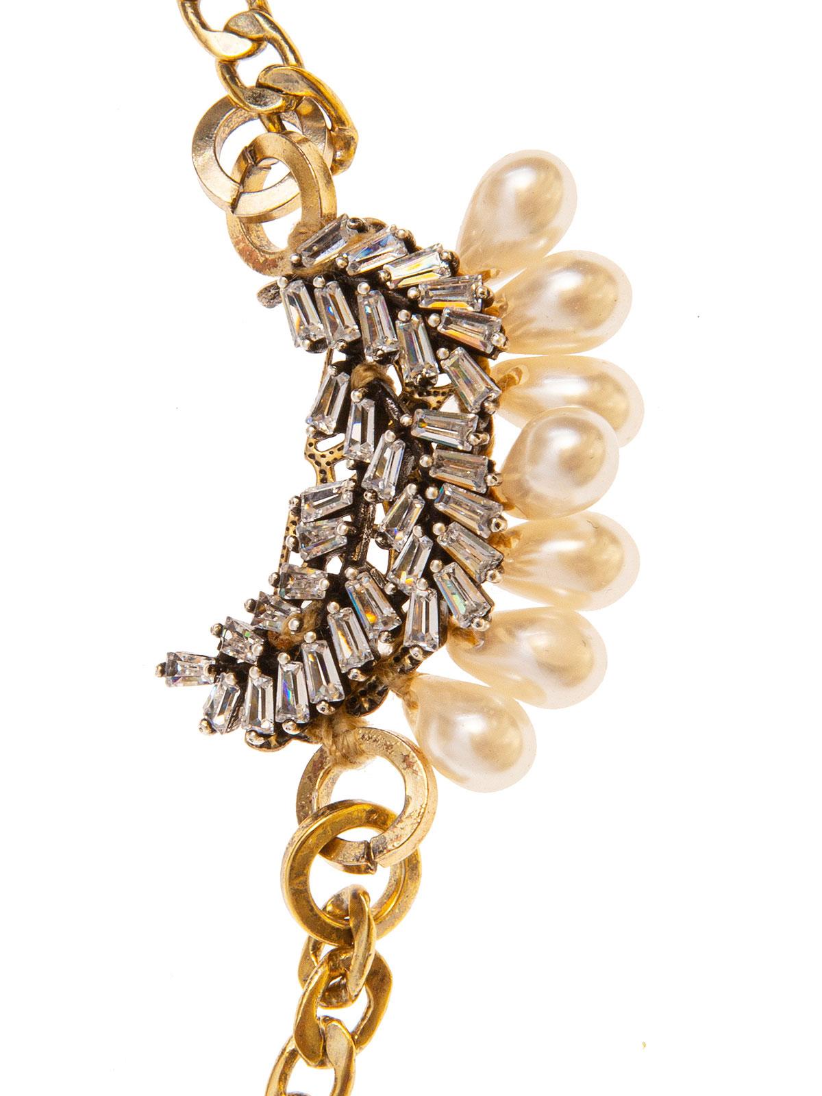 Collana di catena e grappolo di foglie ricamate con baguettes e gocce