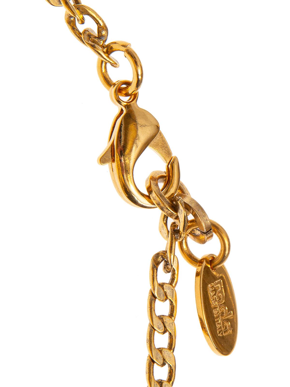 Collana di catena impreziosita da pendenti ricamati con fiori e perle