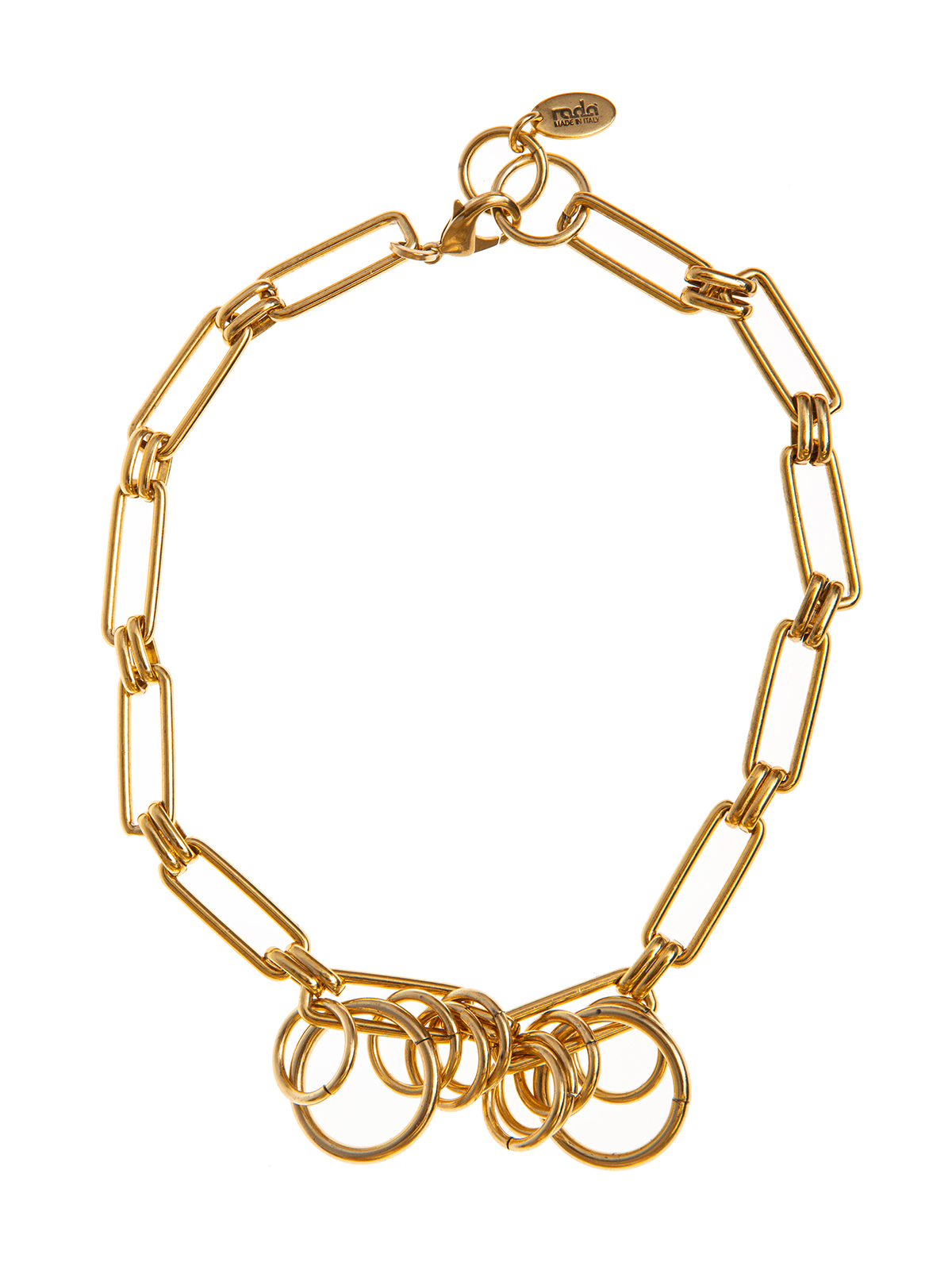 Rectangular chain necklace embellished with rings