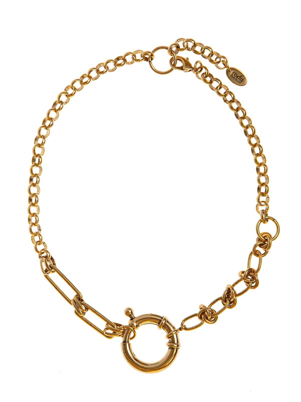 Mixed chain necklace embellished with maxi round clasp