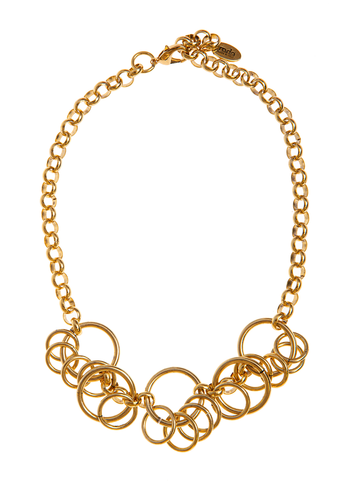 Mixed chain necklace embellished with rings
