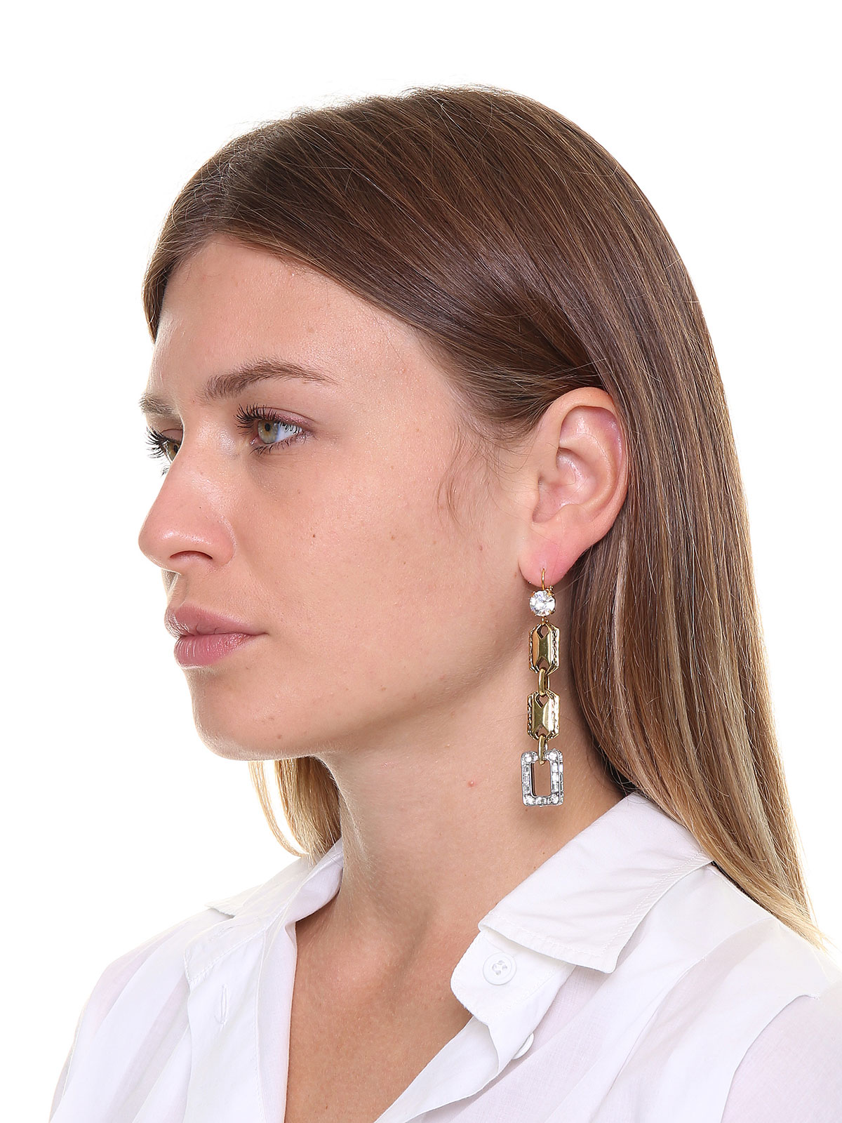 Metal earrings with crystals