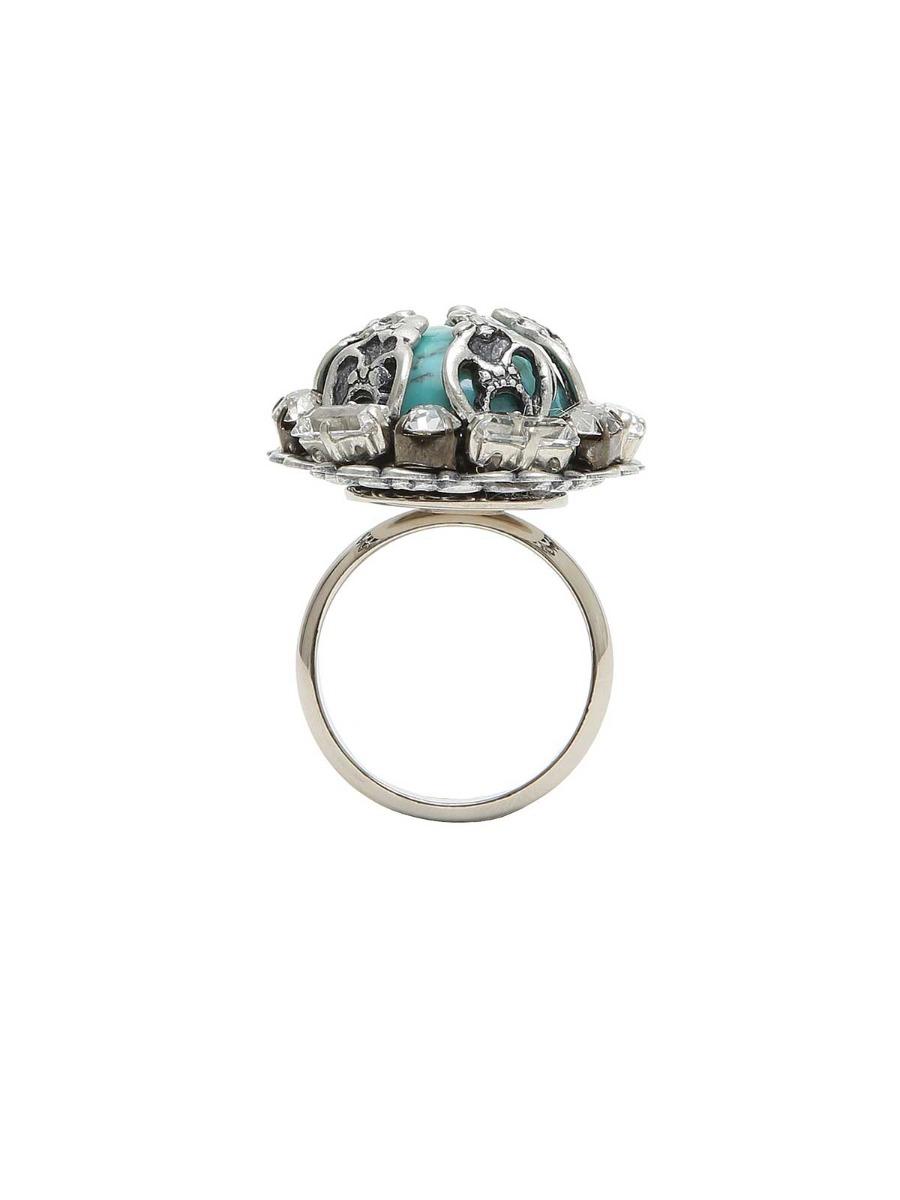 Anello geometrico in ottone con perla incorniciata