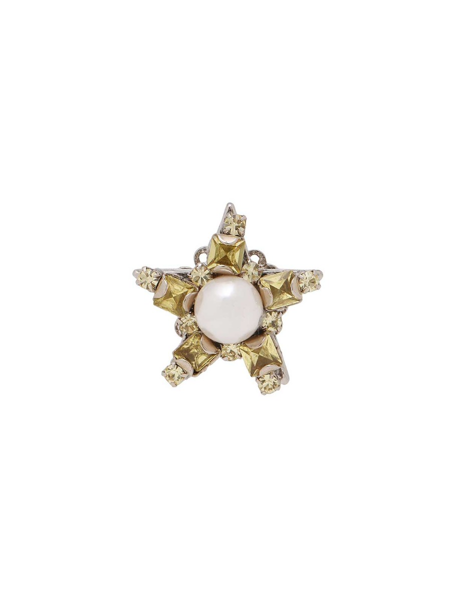 Star ring with rhinestones and pearl