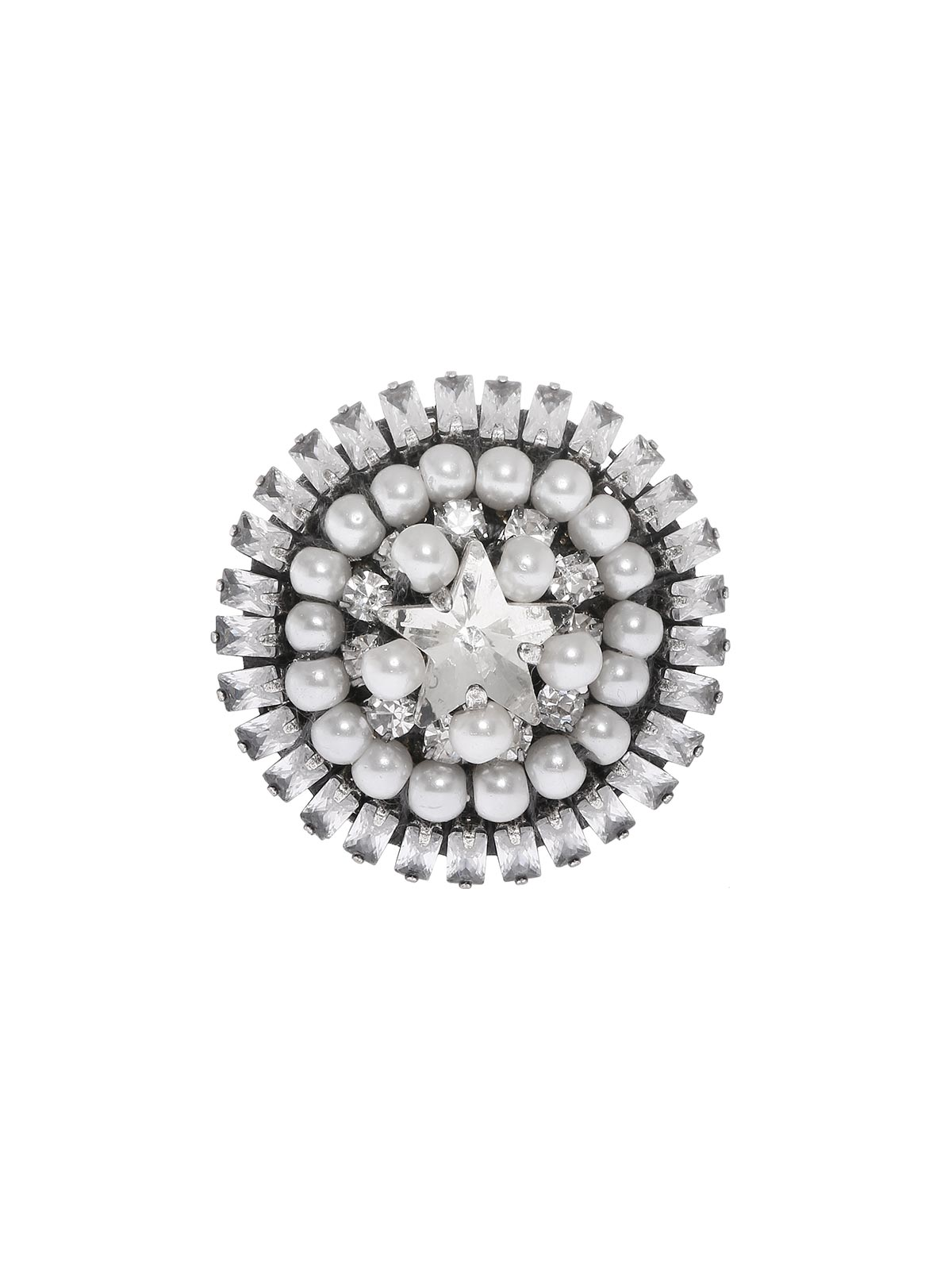 Crystal and beaded button ring