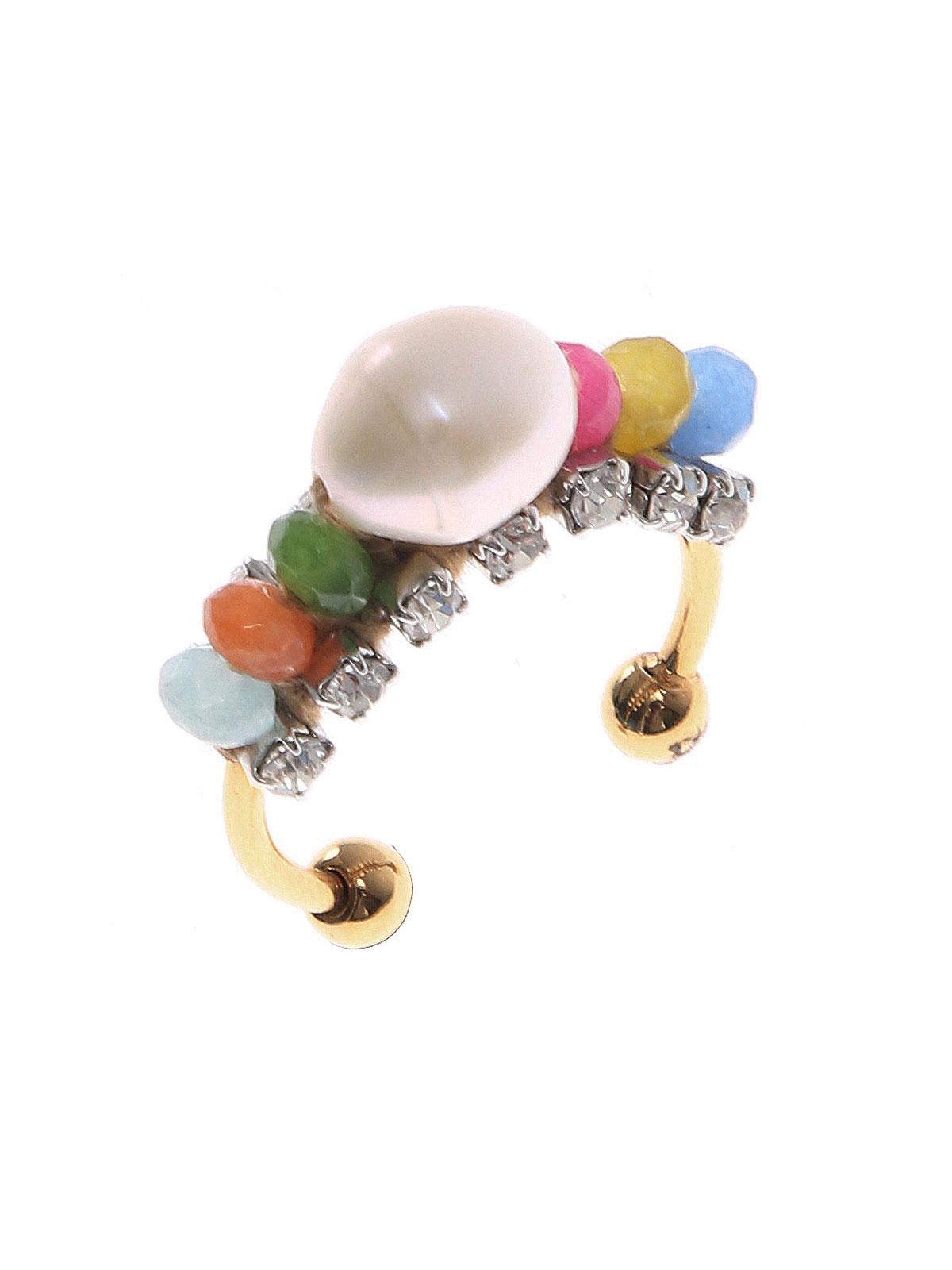 Anello con perle giada multicolor