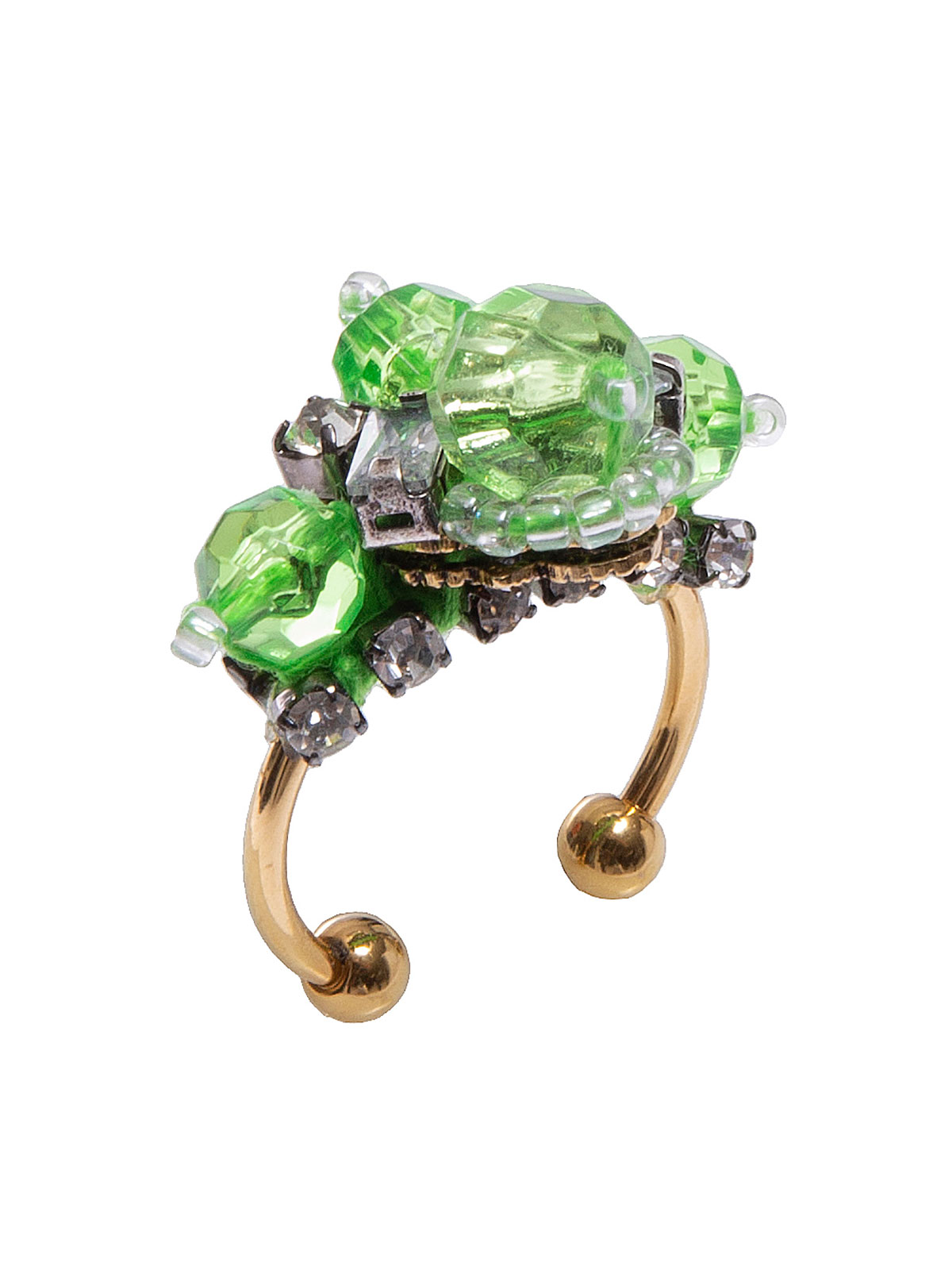 Anello con perle plexiglass colorate