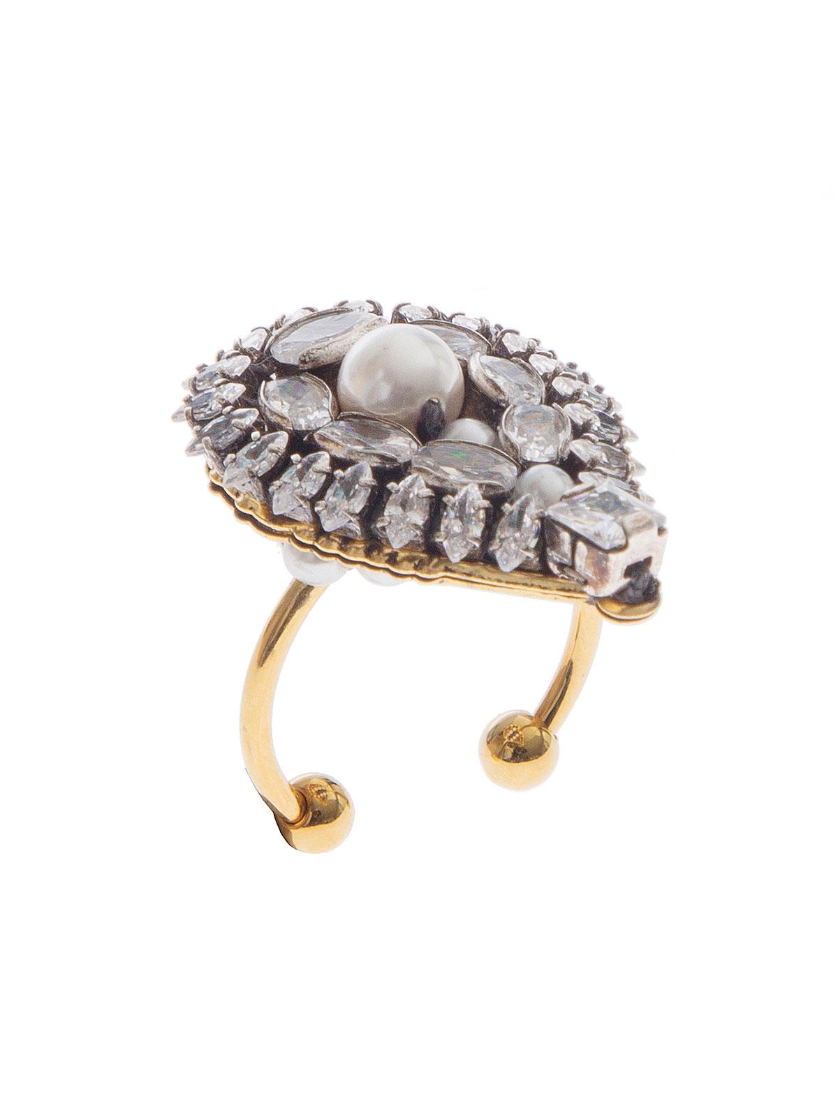 Anello a goccia ricamata con pietre cristallo e perla centrale