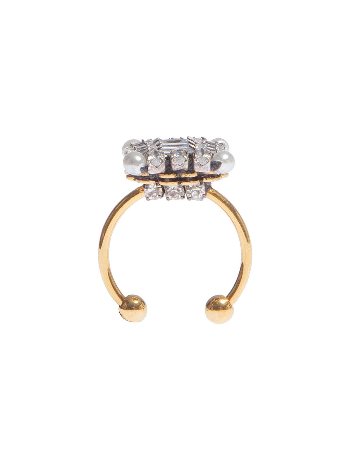 Anello con motivo quadrato di pietre colore cristallo e perle