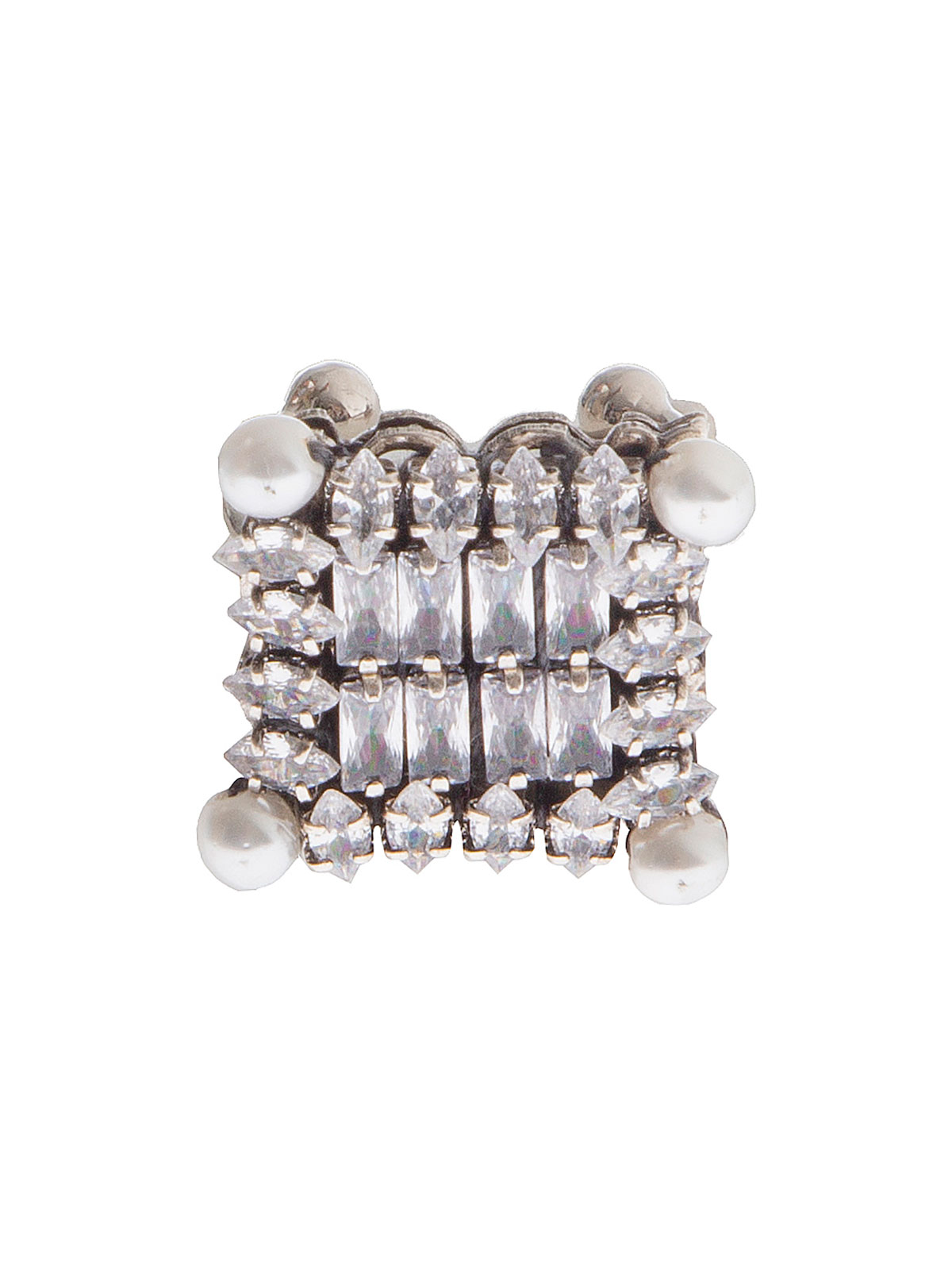 Square ring embellished with crystals and pearls