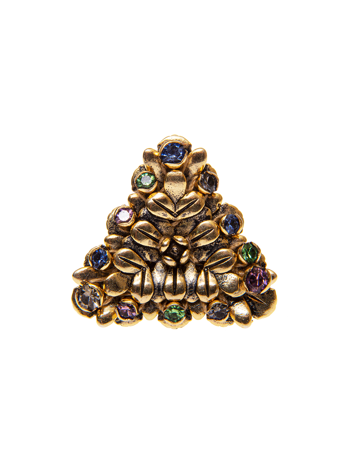 Triangular flower ring embellished with multicolor stones