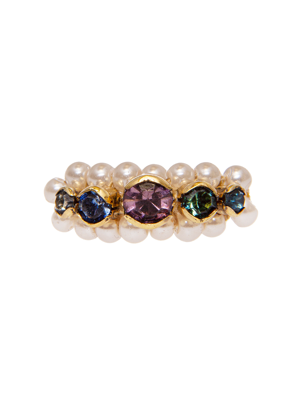 Multicolor stone ring embellished with pearls