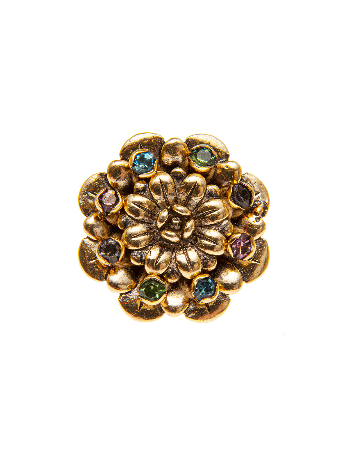Flower ring embellished with multicolor stones