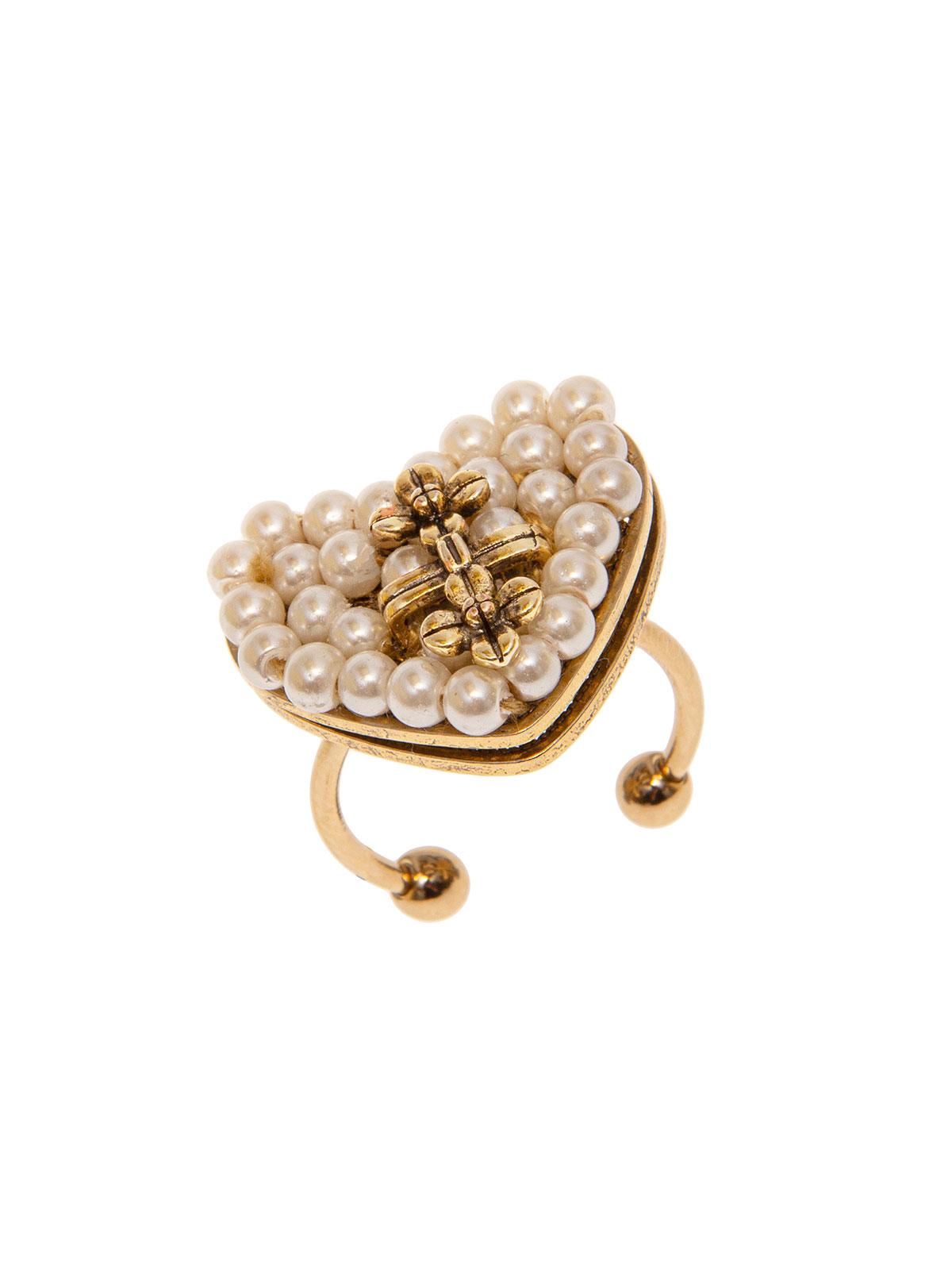 Anello cuore con ricamo di perle