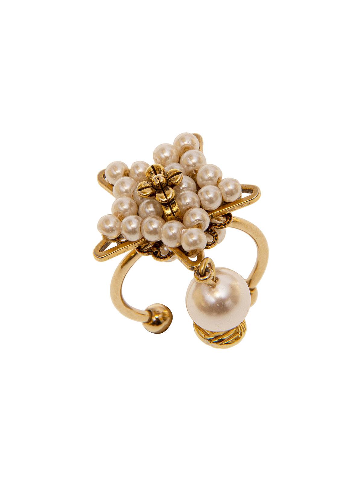 Anello stella con ricamo di perle