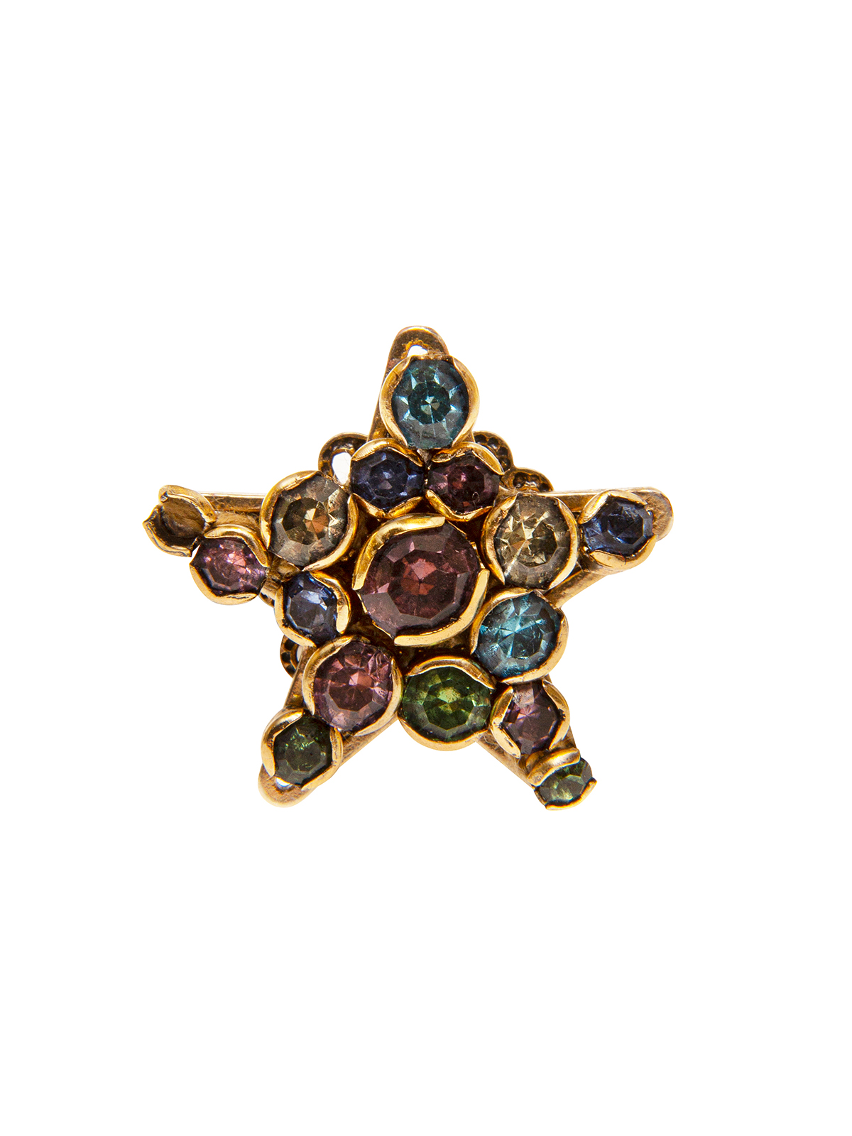Star ring embellished with multicolor stones