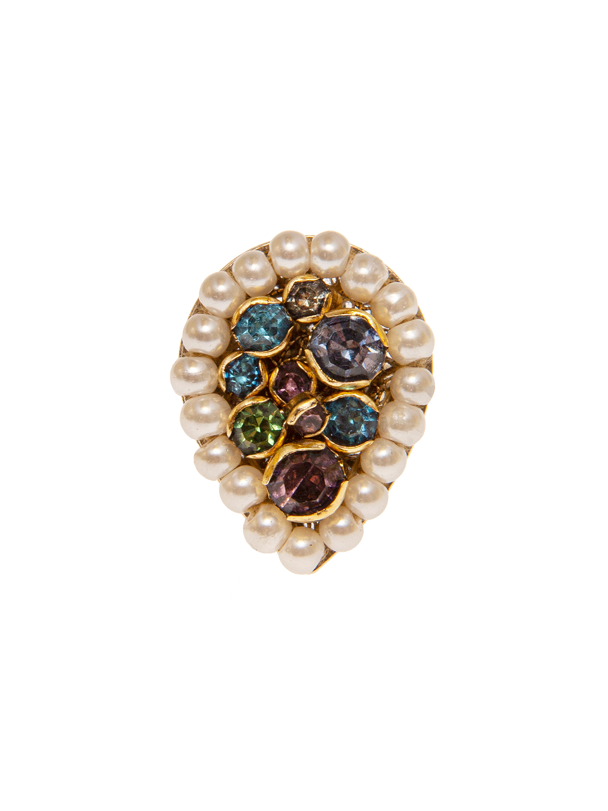 Drop shaped  ring embellished with small pearls and multicolor stones