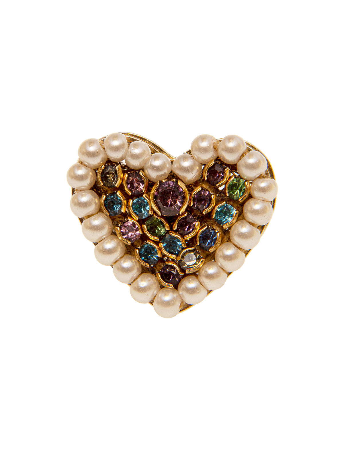Heart ring embellished with small pearls and multicolor stones
