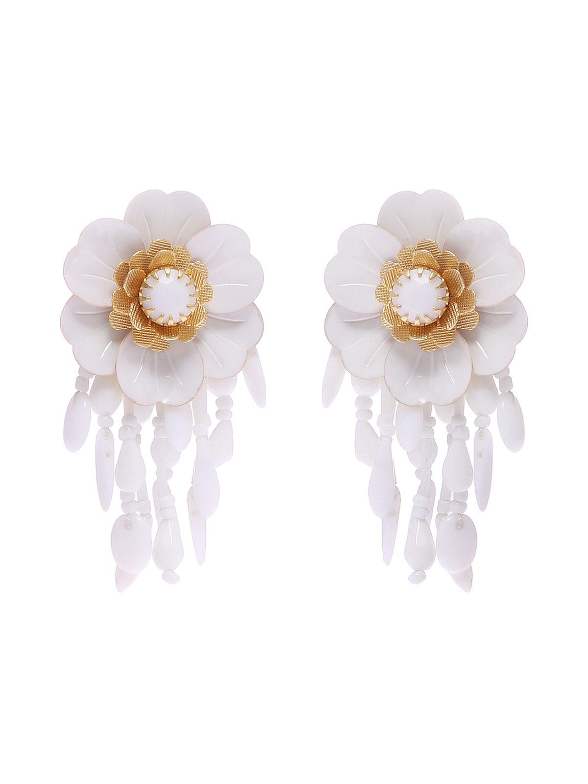 Orecchini a fiore con frange in vetro