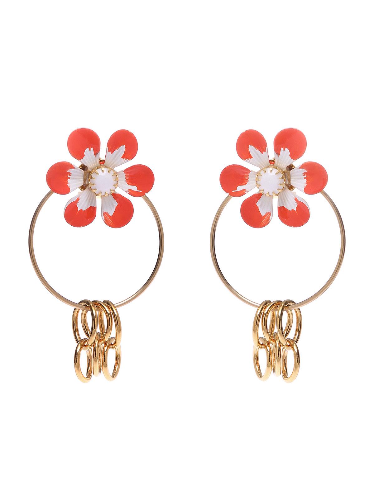Orecchini fiori smaltati con anelle metallo
