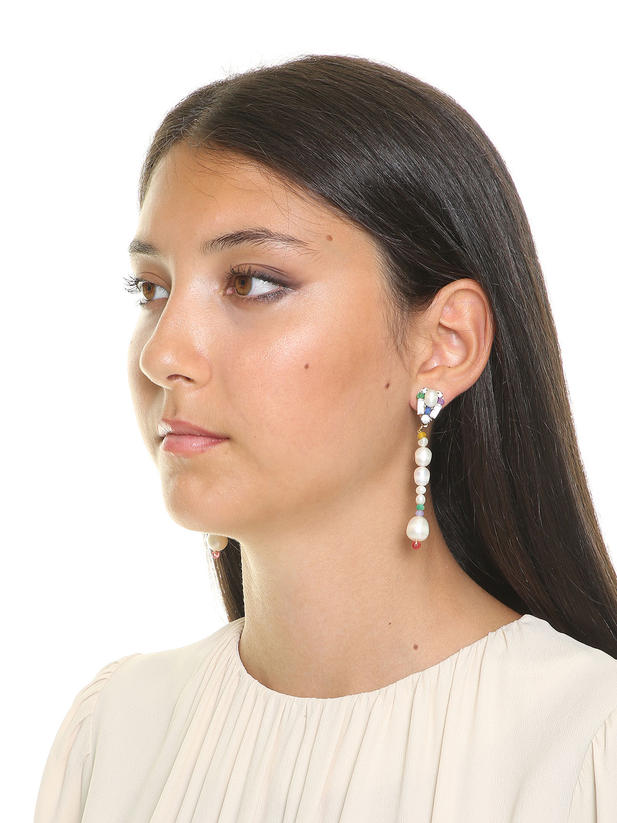 Jade earrings and freshwater pearls