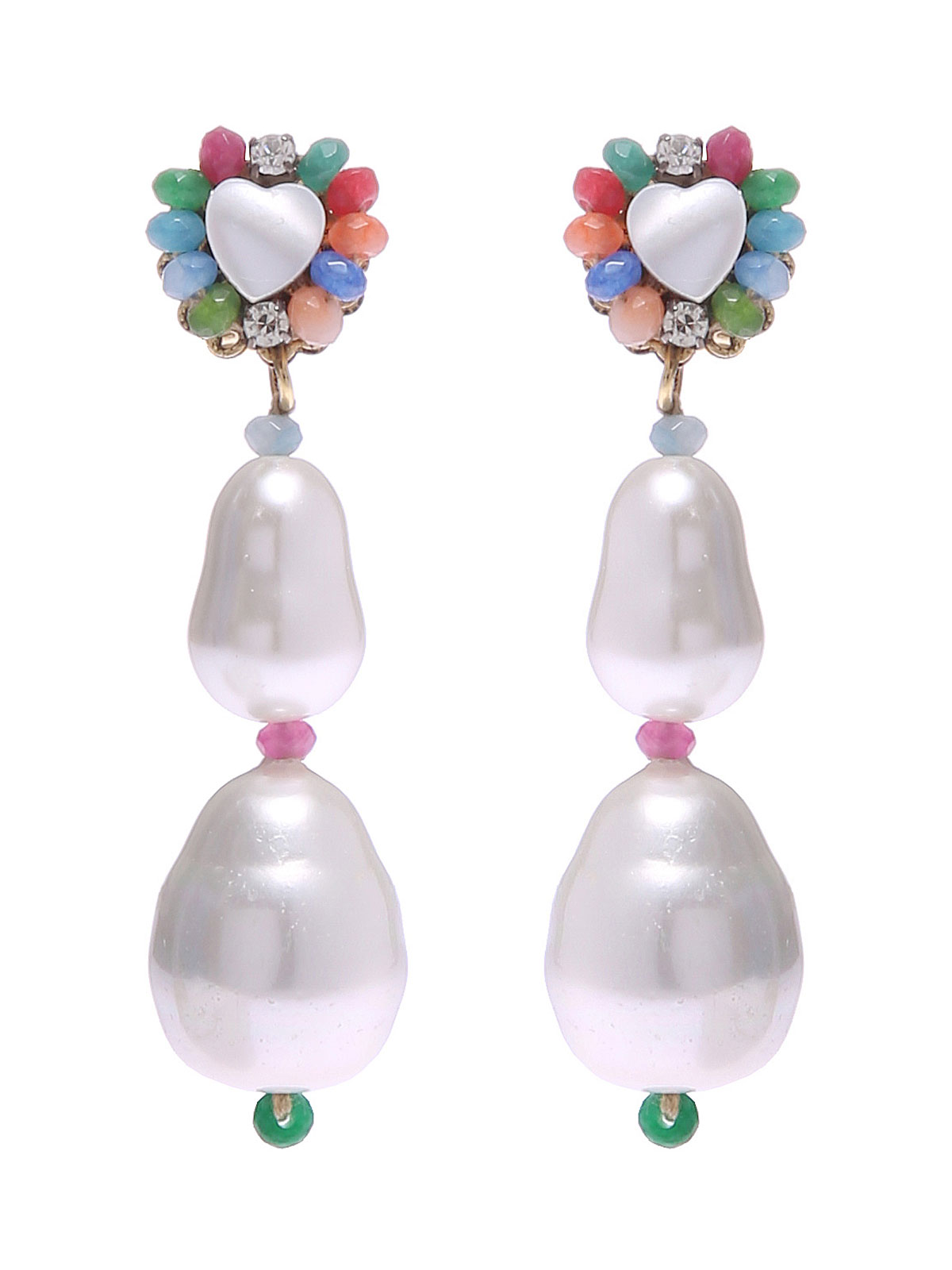 Jade earrings and motherofpearl heart stone