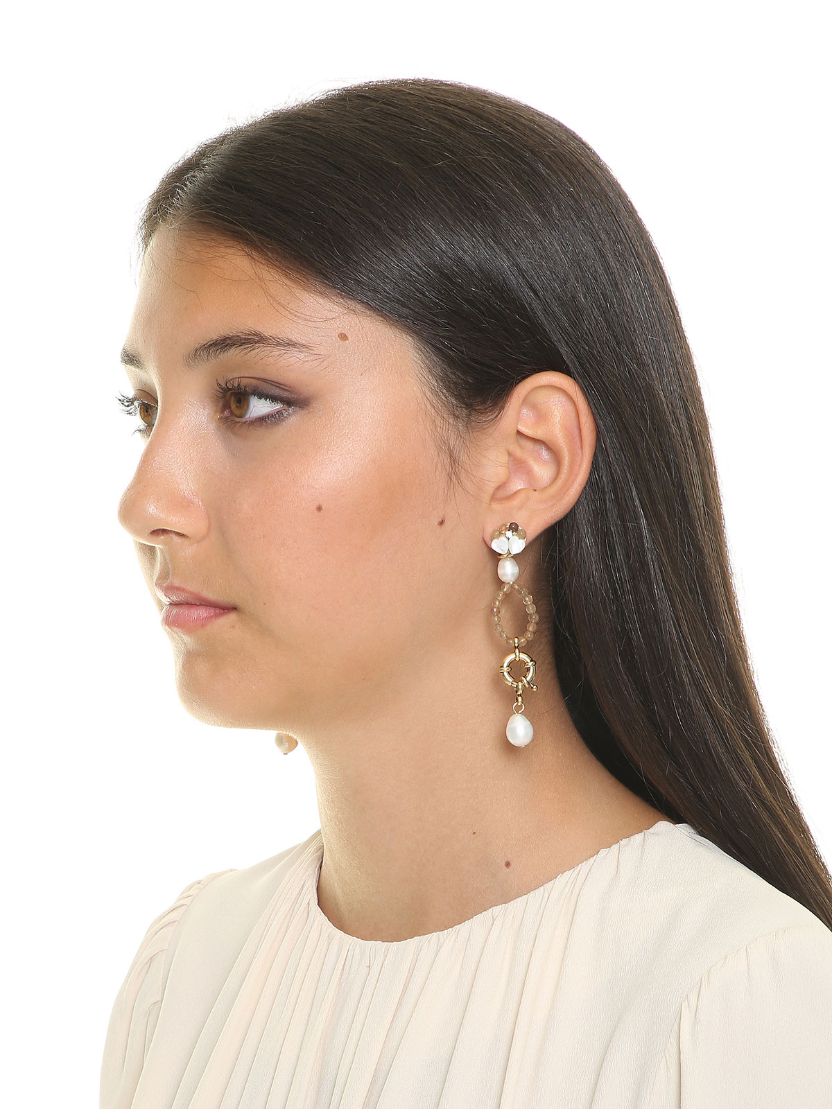 Jade earrings with freshwater pearls