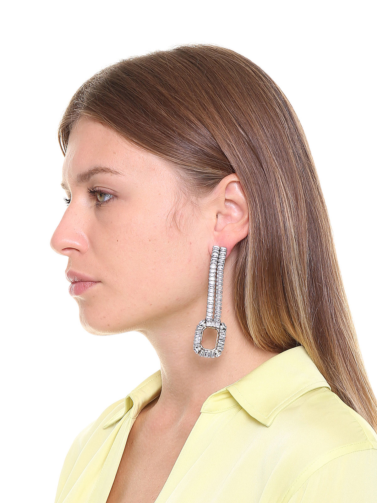 Two rows crystal earrings