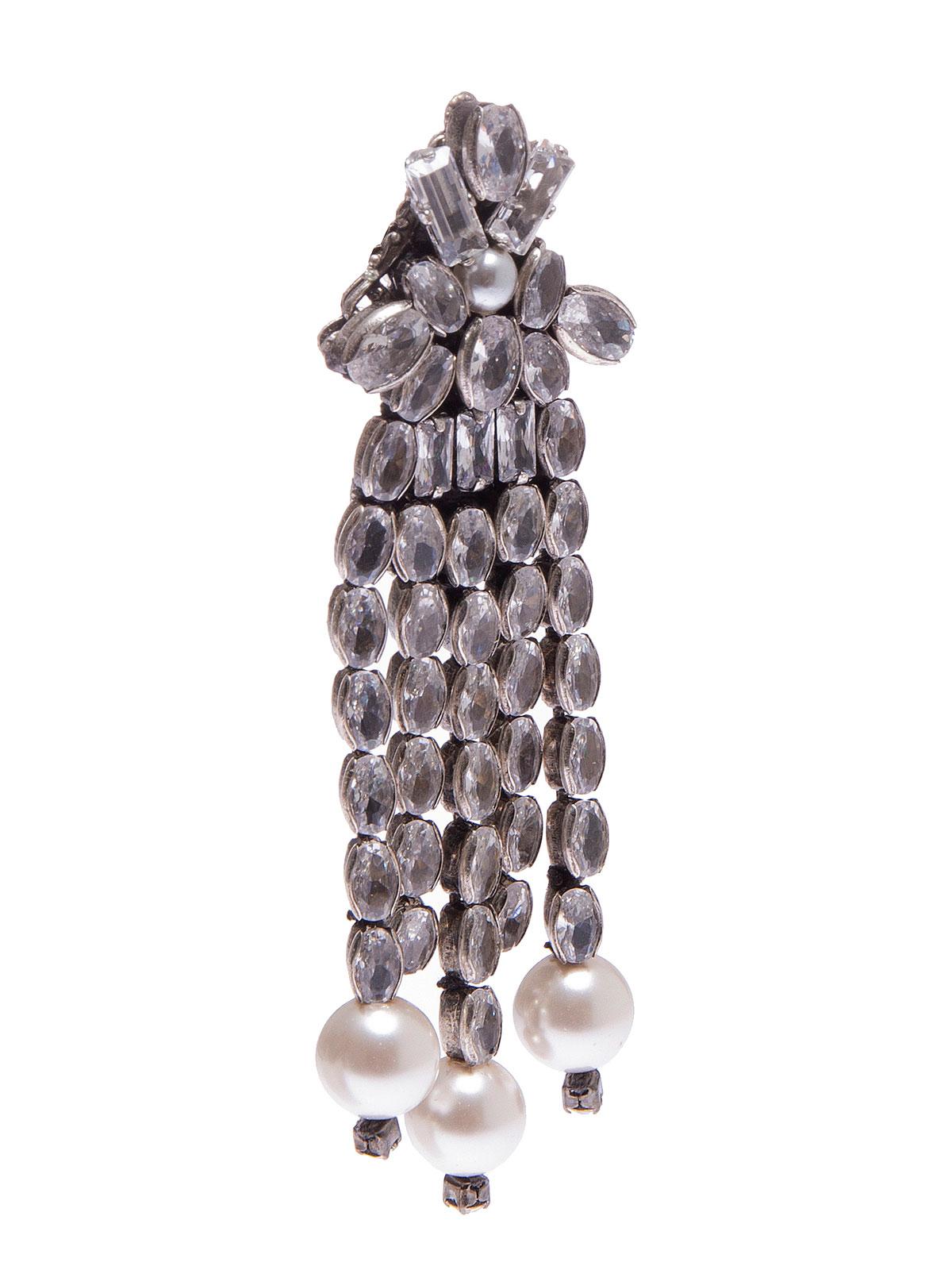 Orecchini con cascata di pietre e terminali di perle