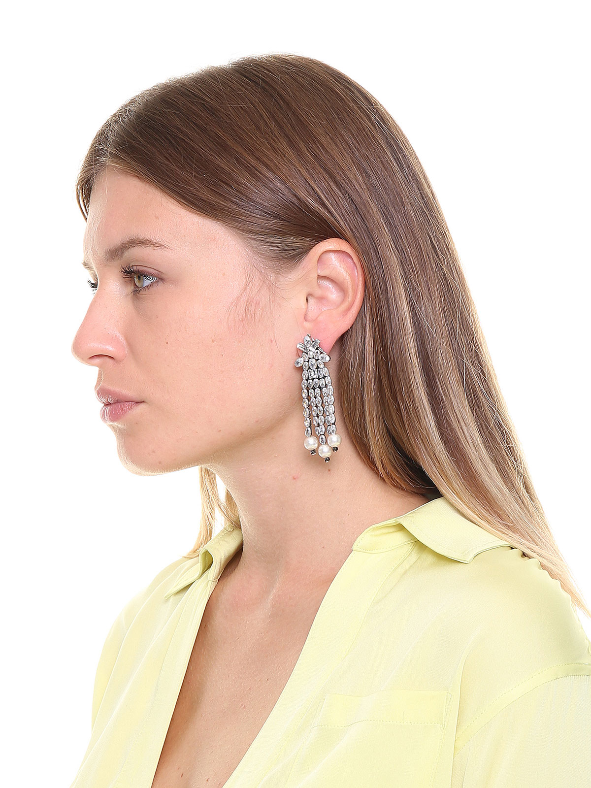 Crystal and pearl cascade earrings