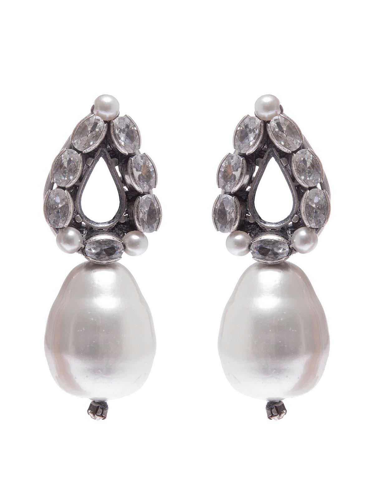 Orecchini a goccia con perla vetro pendente
